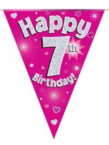 Pink Happy 7th Birthday Holographic Flag Banner