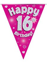Pink Happy 16th Birthday Holographic Flag Banner