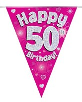 Pink Happy 50th Birthday Holographic Flag Banner