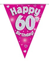Pink Happy 60th Birthday Holographic Flag Banner