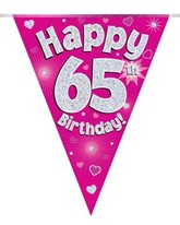 Pink Happy 65th Birthday Holographic Flag Banner