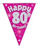 Pink Happy 80th Birthday Holographic Flag Banner