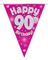 Pink Happy 90th Birthday Holographic Flag Banner