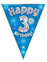 Blue Happy 3rd Birthday Holographic Flag Banner