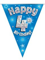 Blue Happy 4th Birthday Holographic Flag Banner