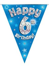Blue Happy 6th Birthday Holographic Flag Banner