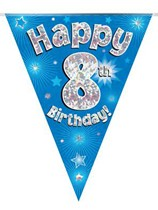 Blue Happy 8th Birthday Holographic Flag Banner