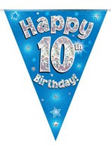 Blue Happy 10th Birthday Holographic Flag Banner