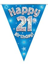 Blue Happy 21st Birthday Holographic Flag Banner