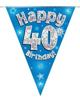 Blue Happy 40th Birthday Holographic Flag Banner