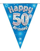 Blue Happy 50th Birthday Holographic Flag Banner
