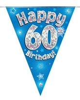 Blue Happy 60th Birthday Holographic Flag Banner