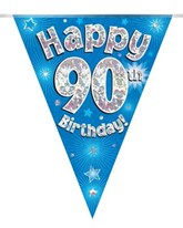 Blue Happy 90th Birthday Holographic Flag Banner