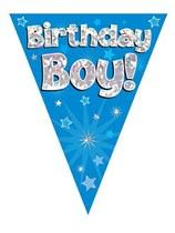 Birthday Boy Blue Holographic Flag Banner 3.9m