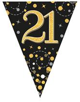 Sparkling Fizz Black & Gold 21st Birthday Flag Bunting