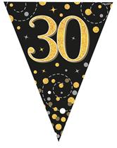 Sparkling Fizz Black & Gold 30th Birthday Flag Bunting