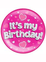 Pink It's My Birthday Holographic Jumbo Badge
