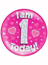 Pink First Birthday Holographic Jumbo Badge