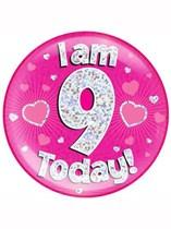 Pink 9th Birthday Holographic Jumbo Badge