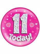 Pink 11th Birthday Holographic Jumbo Badge