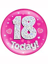 Pink 18th Birthday Holographic Jumbo Badge