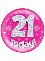 Pink 21st Birthday Holographic Jumbo Badge