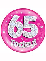 Pink 65th Birthday Holographic Jumbo Badge