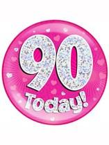 Pink 90th Birthday Holographic Jumbo Badge