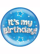 Blue It's My Birthday Holographic Jumbo Badge