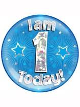 Blue 1st Birthday Holographic Jumbo Badge
