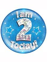 Blue 2nd Birthday Holographic Jumbo Badge