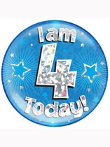 Blue 4th Birthday Holographic Jumbo Badge