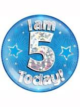 Blue 5th Birthday Holographic Jumbo Badge