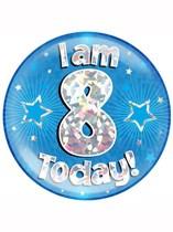 Blue 8th Birthday Holographic Jumbo Badge