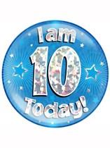 Blue 10th Birthday Holographic Jumbo Badge