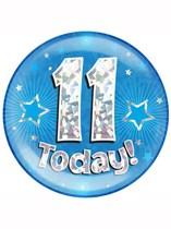 Blue 11th Birthday Holographic Jumbo Badge