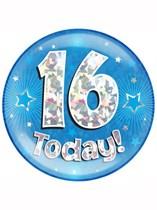 Blue 16th Birthday Holographic Jumbo Badge