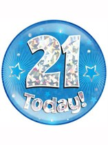 Blue 21st Birthday Holographic Jumbo Badge