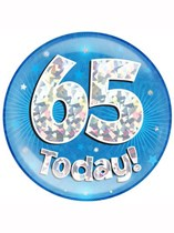Blue 65th Birthday Holographic Jumbo Badge