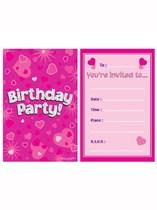 Happy Birthday Pink Hearts Invitations & Envelopes 8pk