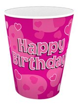 Happy Birthday Pink Hearts Paper Cups 8pk
