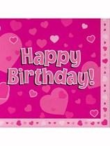 Happy Birthday Pink Hearts Luncheon Napkins 16pk
