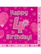 Happy 4th Birthday Pink Hearts Luncheon Napkins 16pk