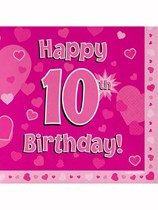 Happy 10th Birthday Pink Hearts Luncheon Napkins 16pk