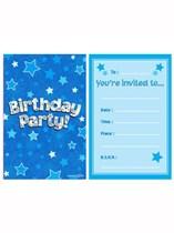 Happy Birthday Blue Stars Invitations & Envelopes 8pk