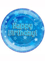 Happy Birthday Blue Stars Paper Plates 8pk