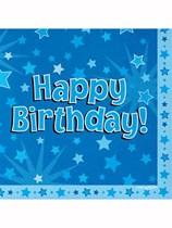 Happy Birthday Blue Stars Luncheon Napkins 16pk