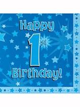 Happy 1st Birthday Blue Stars Luncheon Napkins 16pk