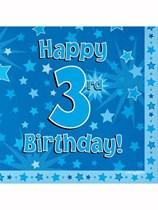 Happy 3rd Birthday Blue Stars Luncheon Napkins 16pk