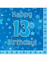 Happy 13th Birthday Blue Stars Luncheon Napkins 16pk